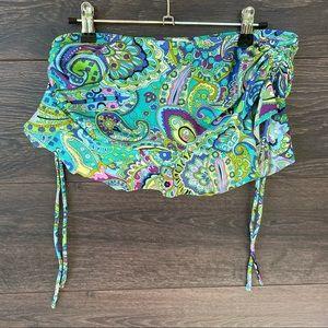 ABS   Paisley Boho Ruched Side Tie Skirt Bikini